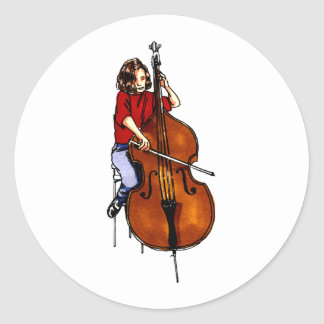 Girl playing orchestra bass red shirt round stickers