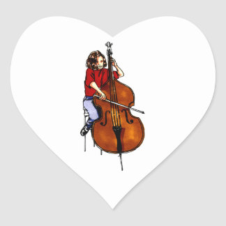 Girl playing orchestra bass red shirt stickers