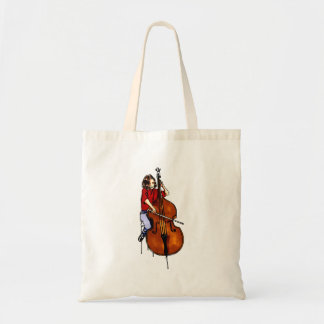 Girl playing orchestra bass red shirt tote bag