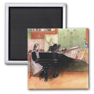 Girl Playing Piano 2 Inch Square Magnet