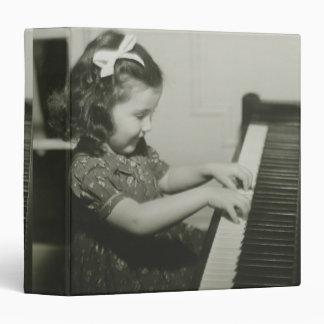 Girl Playing Piano 3 Ring Binder