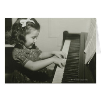 Girl Playing Piano Card