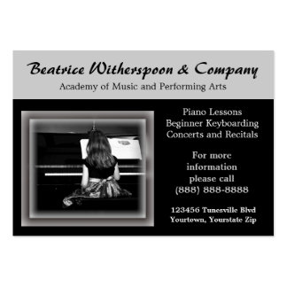 Girl Playing Piano in Pretty Dress Large Business Card