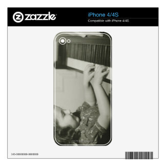 Girl Playing Piano iPhone 4S Decals