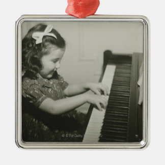Girl Playing Piano Metal Ornament