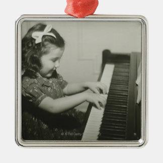 Girl Playing Piano Metal Ornament
