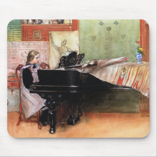Girl Playing Piano Mouse Pad