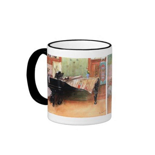 Girl Playing Piano Ringer Coffee Mug