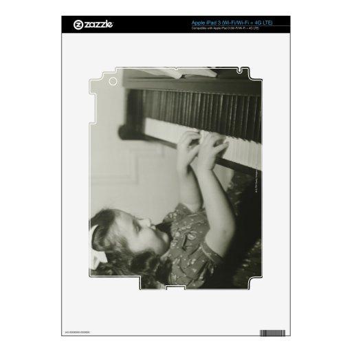 Girl Playing Piano Skins For iPad 3