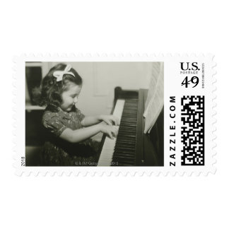 Girl Playing Piano Stamp