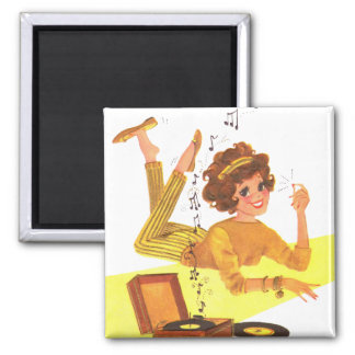 Girl Playing Records 2 Inch Square Magnet