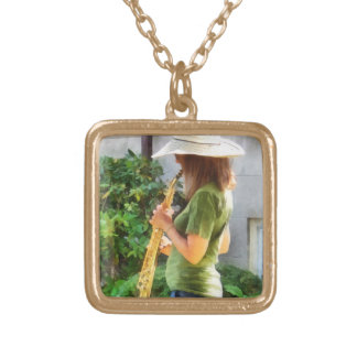 Girl Playing Saxophone Gold Plated Necklace