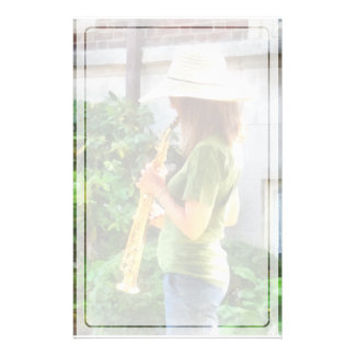 Girl Playing Saxophone Stationery
