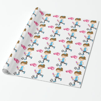 Girl Playing Soccer Wrapping Paper
