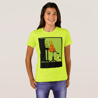 Girl playing the piano, dog, retro style T-Shirt