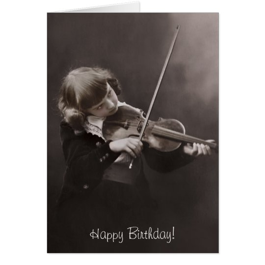 girl playing the violin birthday card