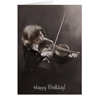 girl playing the violin birthday greeting card