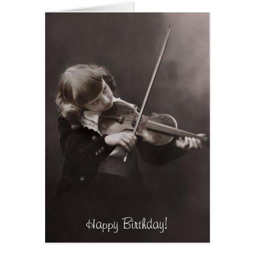 girl playing the violin birthday greeting card