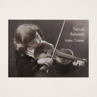 Girl playing the violin business card