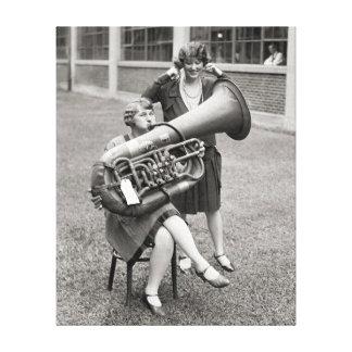 Girl Playing Tuba, 1928 Canvas Print