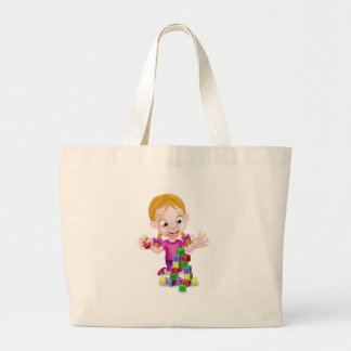 Girl Playing With Building Blocks Large Tote Bag