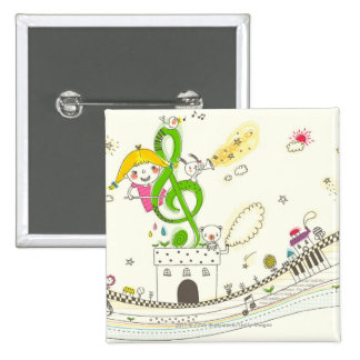 Girl playing with musical notes on house 2 inch square button