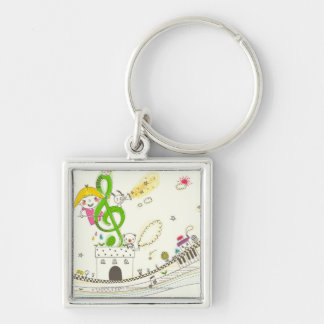 Girl playing with musical notes on house Silver-Colored square keychain