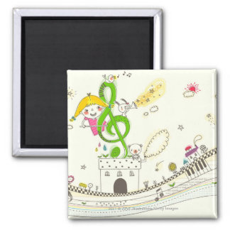 Girl playing with musical notes on house magnet