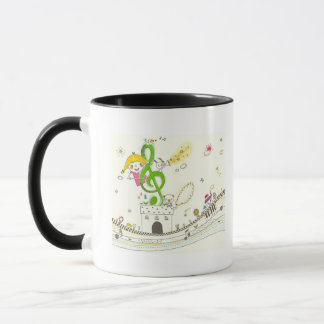 Girl playing with musical notes on house mug