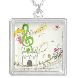 Girl playing with musical notes on house square pendant necklace