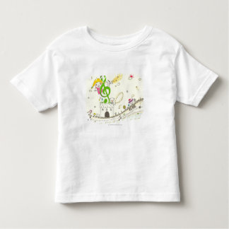 Girl playing with musical notes on house t-shirt