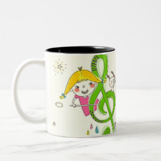 Girl playing with musical notes on house Two-Tone coffee mug