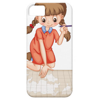Girl plotting on map iPhone 5 covers