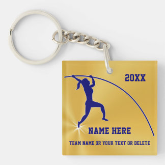 Girl Pole Vault Gift Ideas Personalized 3 Text Box Keychain