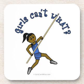 Girl Pole Vaulting - Blue (Dark) Coaster