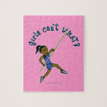 Girl Pole Vaulting - Blue (Dark) Puzzle