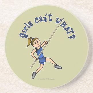 Girl Pole Vaulting - Blue (Light) Beverage Coaster