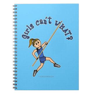 Girl Pole Vaulting - Blue (Light) Notebook