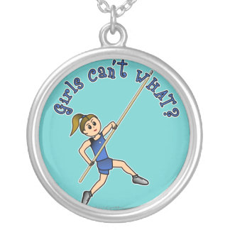 Girl Pole Vaulting - Blue (Light) Silver Plated Necklace