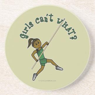 Girl Pole Vaulting - Green (Dark) Coaster