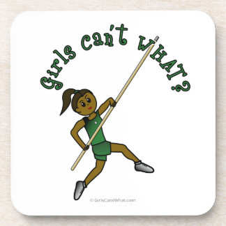 Girl Pole Vaulting - Green (Dark) Beverage Coaster