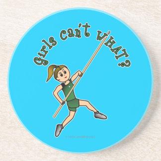 Girl Pole Vaulting - Green (Light) Coasters