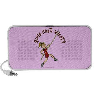 Girl Pole Vaulting - Red (Light) iPod Speaker