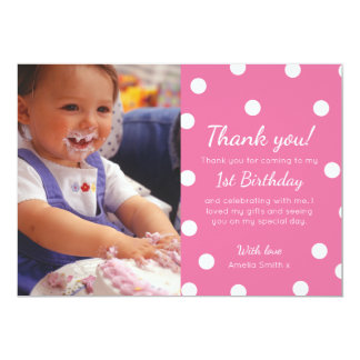 Girl polka dotted birthday thank you card