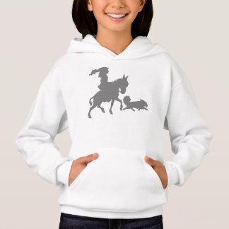 Girl Pony Horse Puppy Dog Silhouette Hoodie