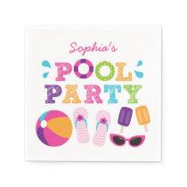 Girl Pool Party Birthday Napkin