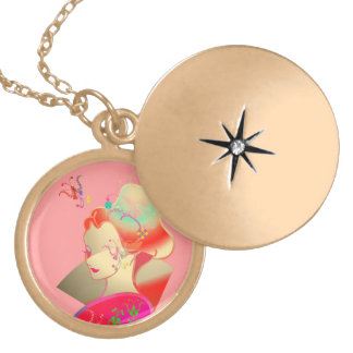 girl portable telephone gold plated necklace