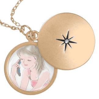 girl portable telephone pendant