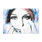 Girl portrait watercolor painting wrapped canvas