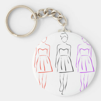 Girl posing in fashionable outfit keychain
